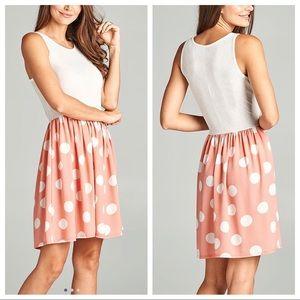 Dresses & Skirts - Blush & White Polka Dot Dress